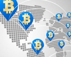 Bitcoin global business concept, Dot World maps with Bitcoin virtual currency